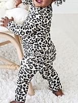 cheap -Baby Girls' Basic Leopard Long Sleeve Romper Brown