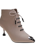 cheap -Women's Boots Stiletto Heel Pointed Toe PU Booties / Ankle Boots Winter Black / Beige