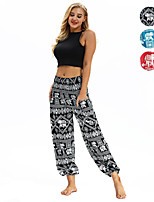 cheap -Women's Yoga Pants Harem Smocked Waist Print Black Fuchsia Light Blue Dance Fitness Gym Workout Bloomers Sport Activewear Lightweight Breathable Quick Dry Soft Stretchy Loose
