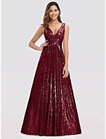 cheap -A-Line Plunging Neck Floor Length Polyester / Nylon Elegant Prom / Formal Evening / Wedding Guest Dress 2020 with Sequin