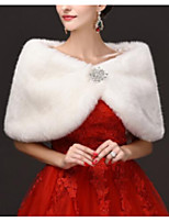 cheap -Sleeveless Faux Fur Wedding Women's Wrap With Crystal Brooch Capelets