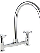 cheap -Kitchen faucet - Two Handles One Hole Electroplated Standard Spout / Tall / ­High Arc Centerset Contemporary Kitchen Taps