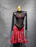 abordables -Danse latine Robes Femme Utilisation Tulle Combinaison Manches Longues Robe / Soutien-gorge