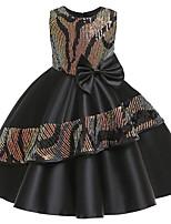 cheap -Kids Girls' Color Block Sleeveless Midi Dress Black