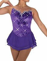 abordables -Robe de Patinage Artistique Femme Fille Patinage Robes Violet Mosaïque Spandex Haute élasticité Entraînement Compétition Tenue de Patinage Fait à la main Mosaïque Cristal / Stras Sans Manches