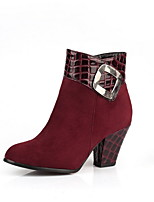 cheap -Women's Boots Chunky Heel Round Toe Suede Booties / Ankle Boots Winter Black / Red / Blue