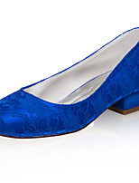 cheap -Women's Wedding Shoes Low Heel Closed Toe Lace / Satin Sweet Spring & Summer / Fall & Winter Blue