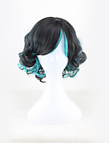 cheap -Synthetic Wig Curly Asymmetrical Wig Short Black / Sapphire Blue Synthetic Hair 11 inch Women's Best Quality Black