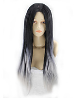 cheap -Synthetic Wig Curly Asymmetrical Wig Very Long Black / White Synthetic Hair 39 inch Women's Best Quality Black