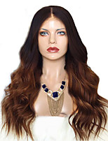 cheap -Synthetic Wig Curly Asymmetrical Wig Long Ombre Brown Synthetic Hair 27 inch Women's Best Quality Brown Ombre