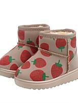 cheap -Girls' Snow Boots Pigskin Boots Little Kids(4-7ys) Black / Pink / Beige Winter