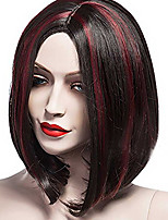 cheap -Synthetic Wig kinky Straight Loose Curl Asymmetrical Wig Short Black / Red Synthetic Hair 6 inch Women's Best Quality Red Black