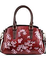 cheap -Women's Zipper Cowhide Top Handle Bag Floral Print Red / Coffee