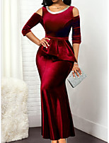 cheap -Sheath / Column Jewel Neck Ankle Length Charmeuse Elegant Engagement / Formal Evening Dress 2020 with Pleats