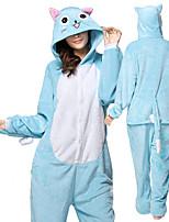 abordables -Adulte Pyjamas Kigurumi Chat Combinaison de Pyjamas Flanelle Bleu Cosplay Pour Homme et Femme Pyjamas Animale Dessin animé Fête / Célébration Les costumes / Collant / Combinaison