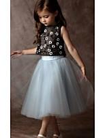 cheap -Kids Girls' Basic Floral Sleeveless Clothing Set Blue