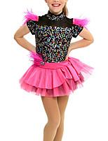 cheap -Kids' Dancewear Dresses Girls' Performance Mesh / Lycra Cascading Ruffles / Wave-like / Split Joint Cap Sleeve Natural Dress / Headwear