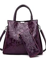 cheap -Women's PU Top Handle Bag Floral Print 2 Pieces Purse Set Black / Wine / Dark Purple