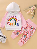 cheap -Toddler Girls' Active Basic Rainbow Long Sleeve Clothing Set White