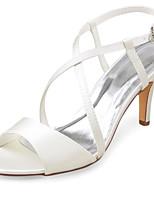 cheap -Women's Wedding Shoes Stiletto Heel Open Toe Buckle Satin Summer Ivory / Party & Evening