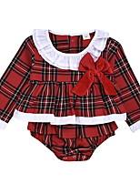 cheap -Baby Girls' Basic Plaid Long Sleeve Bodysuit Red