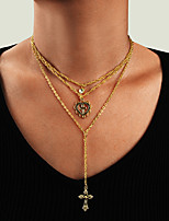 cheap -Women's Pendant Necklace Necklace Layered Necklace Layered Cross Heart Classic Vintage Trendy Fashion Chrome Gold 48 cm Necklace Jewelry 1pc For Gift Daily Street Club Festival