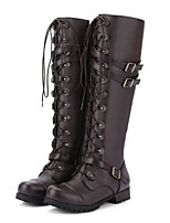 cheap -Women's Boots Low Heel Round Toe PU Knee High Boots Winter Black / Brown / Purple