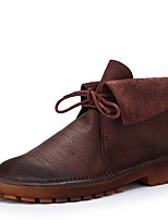 cheap -Women's Boots Flat Heel Round Toe PU Booties / Ankle Boots Winter Brown / Wine
