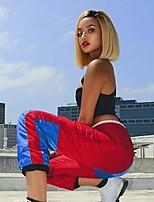 abordables -Perruque Synthétique Droit crépu Coupe Asymétrique Perruque Court Blond Cheveux Synthétiques 6 pouce Femme Meilleure qualité Blond