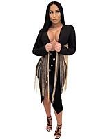 abordables -Femme Blazer, Couleur Pleine Revers Cranté Polyester Noir