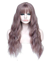 cheap -Synthetic Wig Curly Asymmetrical Wig Long Light golden Light Brown Grey Natural Black Bright Purple Synthetic Hair 27 inch Women's Best Quality Black Light Brown