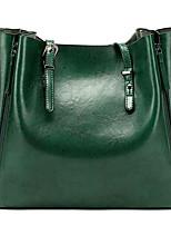 cheap -Women's Zipper PU Top Handle Bag Solid Color Black / Brown / Green