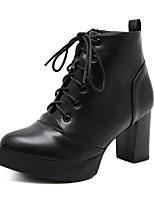 cheap -Women's Boots Chunky Heel Round Toe PU Mid-Calf Boots Winter Black
