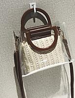 cheap -Women's PU Top Handle Bag Solid Color Black / Beige / Khaki