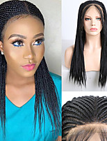 cheap -Synthetic Lace Front Wig Box Braids with Baby Hair Lace Front Wig Long Natural Black Synthetic Hair 18-26 inch Women's Braided Wig African Braids African Braiding Black