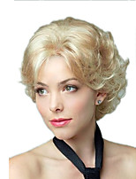 cheap -Synthetic Wig Curly Asymmetrical Wig Short Light Blonde Synthetic Hair 11 inch Women's Best Quality Black