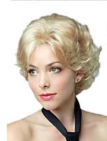 abordables -Perruque Synthétique Bouclé Coupe Asymétrique Perruque Court Blond clair Cheveux Synthétiques 11 pouce Femme Meilleure qualité Noir