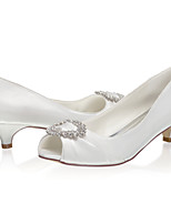 cheap -Women's Wedding Shoes Low Heel Peep Toe Satin Sweet Spring & Summer / Fall & Winter Ivory