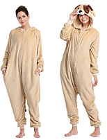 cheap -Adults' Kigurumi Pajamas Dog Onesie Pajamas Flannel Beige Cosplay For Men and Women Animal Sleepwear Cartoon Festival / Holiday Costumes / Leotard / Onesie