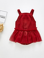 cheap -Baby Girls' Basic Solid Colored Sleeveless Romper Red