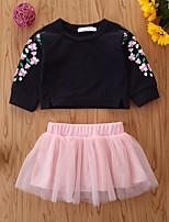 cheap -Baby Girls' Basic Floral Long Sleeve Regular Clothing Set Black