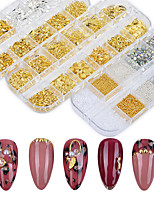 cheap -1 Case Gold Silver 3D Nail Art Decorations Mix Hollow Metal Frame Nail Rivets Caviar Beads Shiny Charm Strass Manicure Accessories Studs
