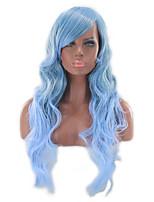 abordables -Perruque Synthétique Bouclé Coupe Asymétrique Perruque Long Azur Cheveux Synthétiques 27 pouce Femme Meilleure qualité Bleu