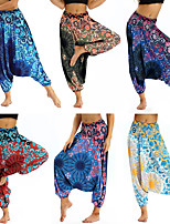 cheap -Women's Yoga Pants Harem Baggy Print Amethyst Sky Blue Grey Red Combo Dark Blue Dance Fitness Gym Workout Bloomers Sport Activewear Lightweight Breathable Quick Dry Soft Stretchy Loose