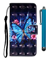 cheap -Case For Samsung Galaxy S10 / S10 Plus / S10 E Wallet / Card Holder / with Stand Blue Butterfly PU Leather / TPU for A10s / A20s / A50(2019) / A70(2019) / A90(2019) / Note 10 Pro / A51