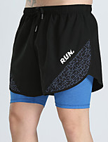 cheap -Men's Running Shorts 2 in 1 Split Sports Shorts Running Fitness Jogging Breathable Quick Dry Soft Color Block Blue Black / Blue Black+Gray Gray / Stretchy