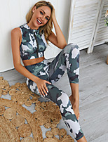 cheap -Women's 2-Piece Tracksuit 2pcs High Rise Running Fitness Jogging Breathable Quick Dry Soft Sportswear Camo Sport Bra With Running Pants Sleeveless Activewear High Elasticity Skinny / Sweat-wicking