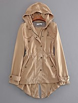 cheap -Women's Daily Fall & Winter Long Trench Coat, Solid Colored Hooded Long Sleeve Polyester Khaki