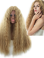 cheap -Synthetic Wig Curly Loose Curl Asymmetrical Wig Long Blonde Synthetic Hair 27 inch Women's Best Quality Fluffy Blonde