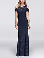 cheap -Sheath / Column Jewel Neck Floor Length Lace / Satin Elegant Prom / Formal Evening Dress 2020 with Pleats